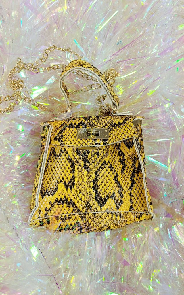 Tyra Mini Bag Yellow Snake Print by Bottle Blonde Studio