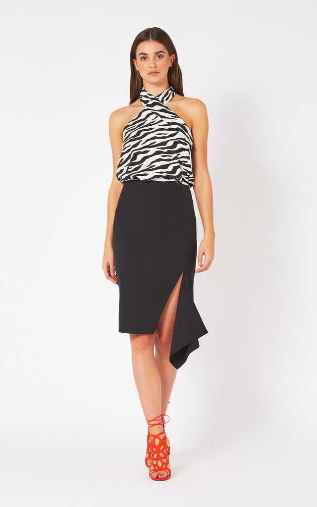 Vesper Yvette Black Frill Split Midi Skirt by Vesper247