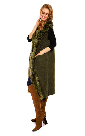 Looking Glam Faux Fur Long Cape Coat in Olive by Looking Glam