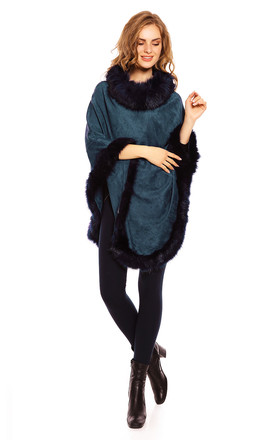 Faux Fur Cape Poncho in Navy by Looking Glam