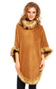 Faux Fur Cape Poncho in Tan by Looking Glam