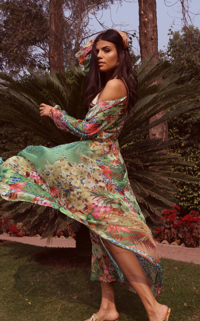 Green floral print kaftan by Ambi The Brand