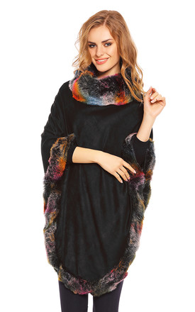 Faux Fur Cape Poncho in Black by Looking Glam
