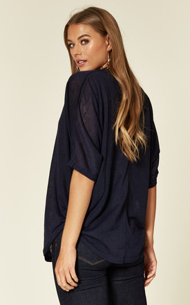 TAL – Rose Gold Zip Front Navy Batwing Top by Blue Vanilla