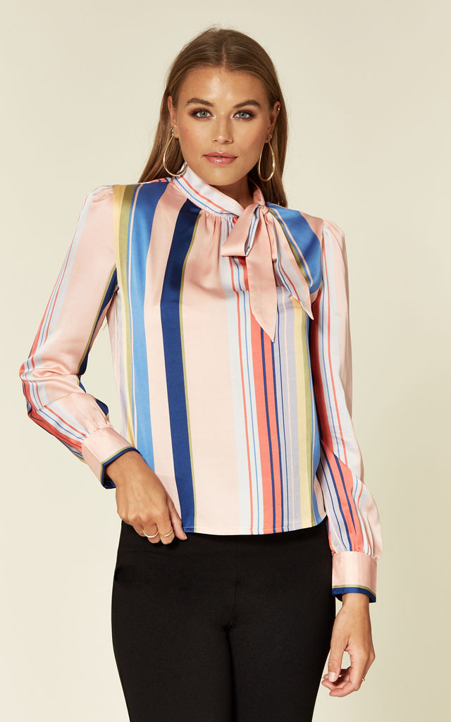 Multi Stripe Pussy Bow Blouse by Pretty Darling
