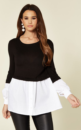 Black Smart Casual Long Sleeve With White Shirt Jumper by Love Product photo