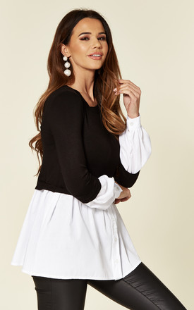 Black Smart Casual Long Sleeve with White Shirt Jumper by Love