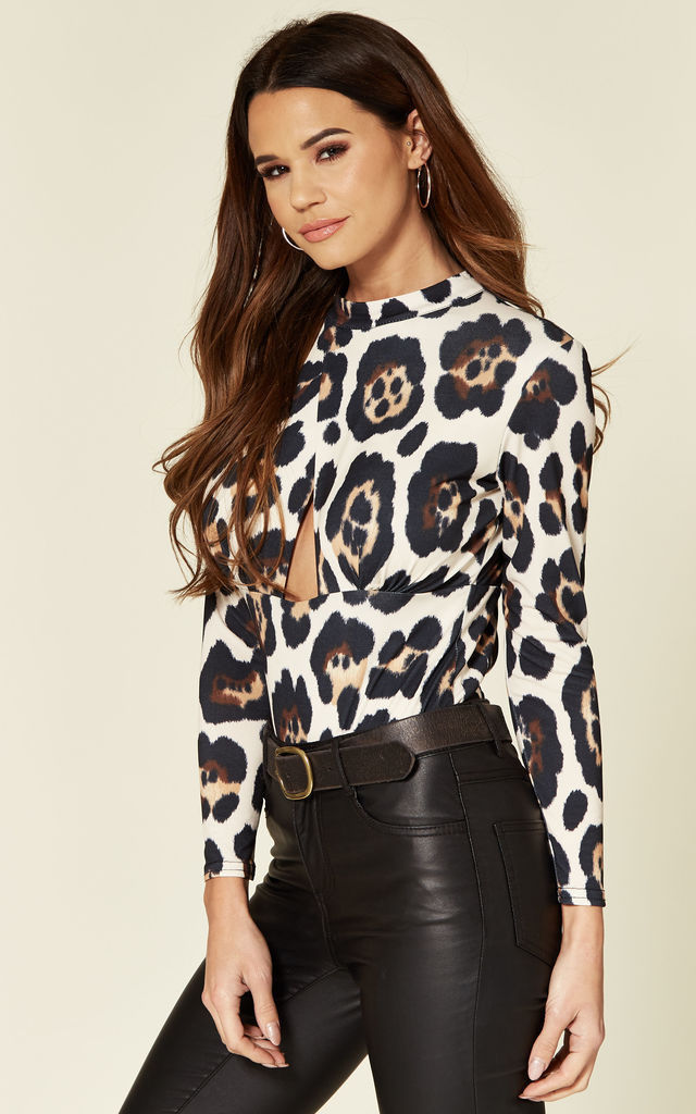 Long Sleeve Leopard High Neck Bodysuit with Cut Out by Love