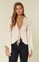 Clea bell sleeve blouse in nude by Hella Sundays
