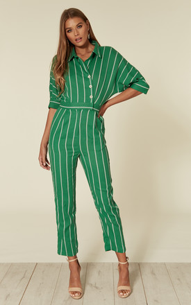 Green Pinstripe Jumpsuit by Liquorish Product photo