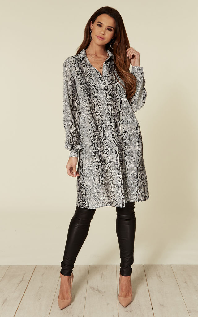 Arianna Long Shirt in Grey Snakeskin Print by Love