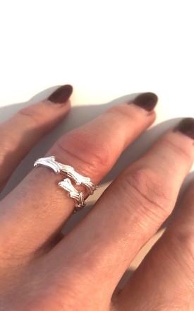 Sterling silver irregular forest branch ring by Lovelock jewels