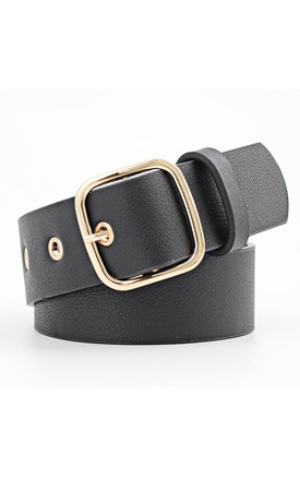 Bree Faux Leather Black and Gold Belt by Ajouter Store