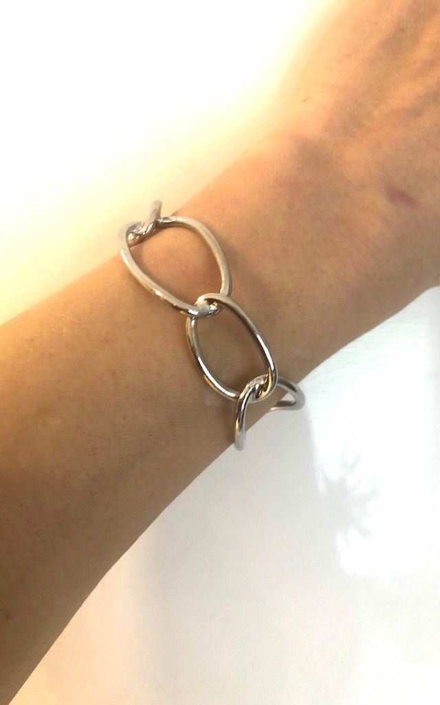 Silver hollow geometric cuff by Lovelock jewels