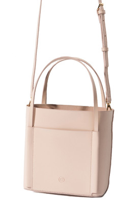 Pink Leather Small Shoulder Tote Bag by MOOD BAG