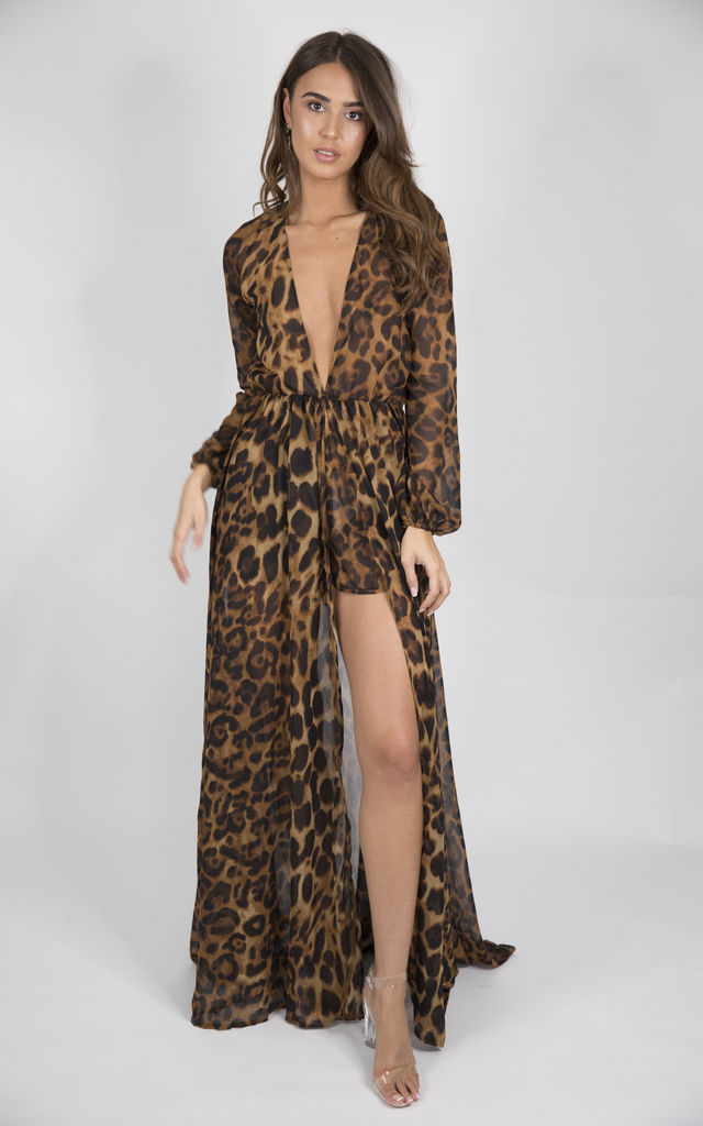 So Fly Leopard print long sleeved play-suit by House of Gigi