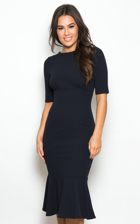 Tamsin Frill Hem Midi Dress Navy by Girl In Mind Product photo