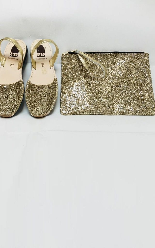 Gold Glitter Menorcan Leather Sandals by Avenue L Boutique