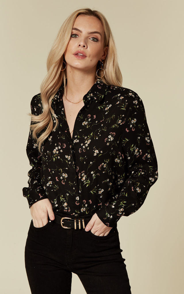 Black Floral Print Long Sleeved Work Shirt by ANGELEYE
