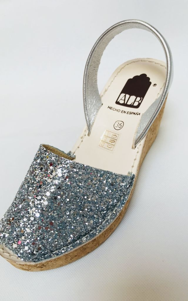 Silver Glitter Menorcan Leather Wedge Sandals by Avenue L Boutique