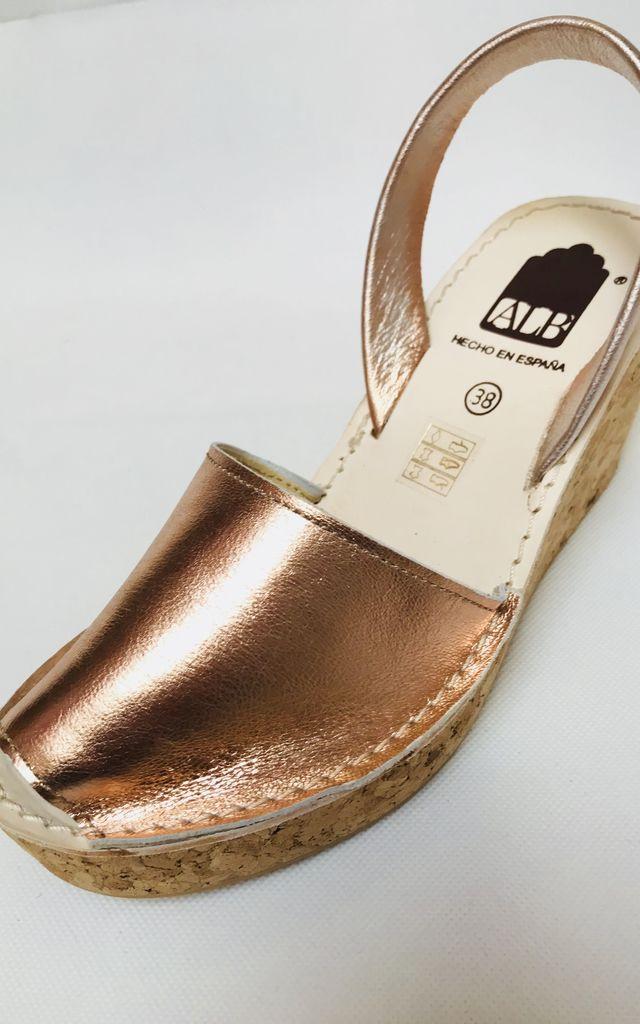 Rose Gold Menorcan Leather Wedge Sandals by Avenue L Boutique