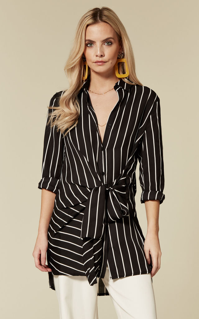 Erin Stripe Long Sleeve Top in Black by ANGELEYE