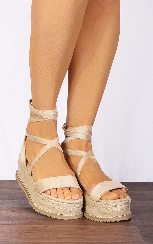 41f367ed92cc Nude Beige Wrap Round Canvas Wedged Platforms Wedges Flatforms Strappy  Sandals by Shoe Closet