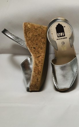 Silver Metallic Menorcan Leather Wedge Sandals by Avenue L Boutique