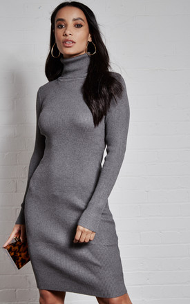Grey Roll Neck Knitted Long Sleeve Dress by India Gray Product photo