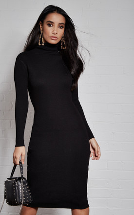 Black Roll Neck Knitted Long Sleeve Dress by India Gray