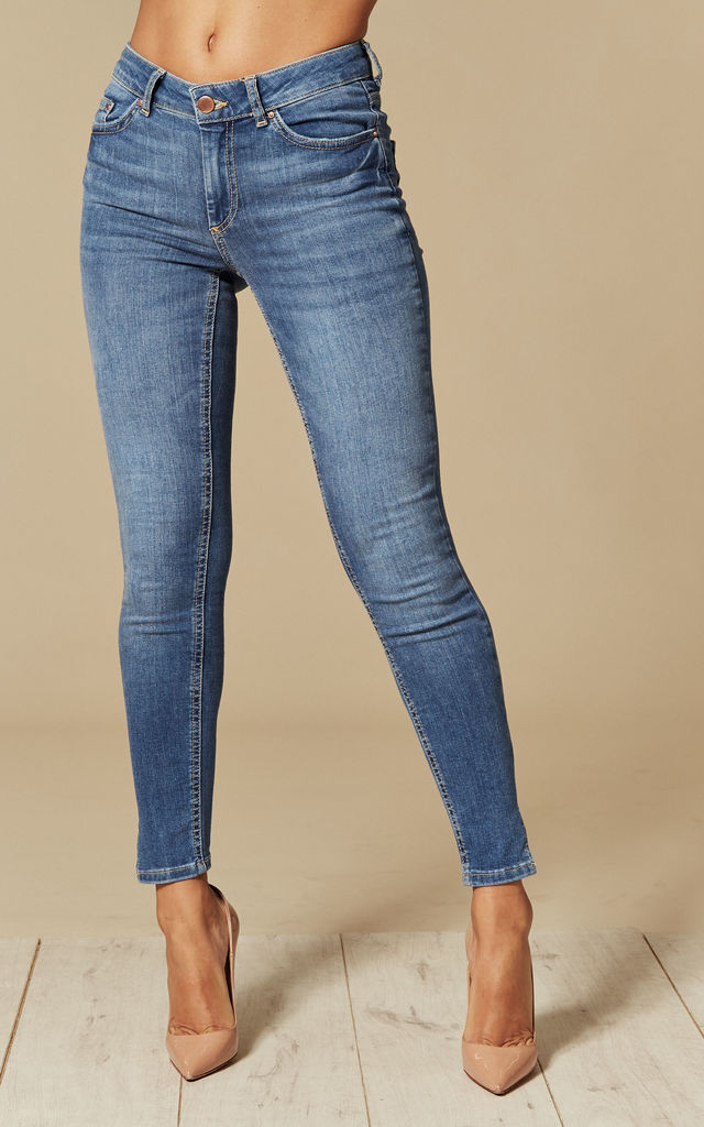Medium Blue Denim Mid Waist Cropped Skinny Jeans by Pieces