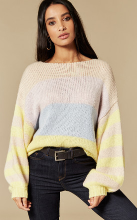 Yellow and Iris Stripe Balloon Sleeve Jumper by VILA