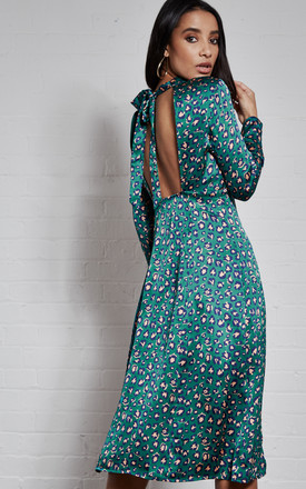 Lois Cut Out Back Green Leopard Midi Dress by India Gray Product photo