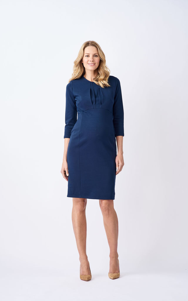 ea3476361af Olivia Maternity and Breastfeeding Dress in Blue by Adélie Maternity