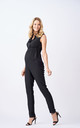 Ava Maternity and Breastfeeding Jumpsuit With Ruffle Details in Black by Adélie Maternity