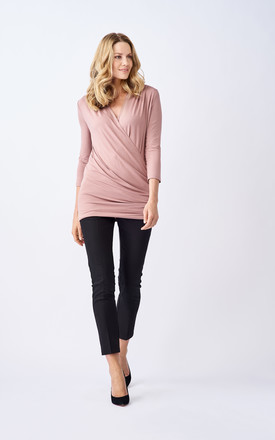 Orla Maternity and Breastfeeding Top With Crossover Detail in Blush Pink by Adélie Maternity