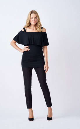 Esme Maternity and Breastfeeding Top With Ruffle Panel in Black by Adélie Maternity