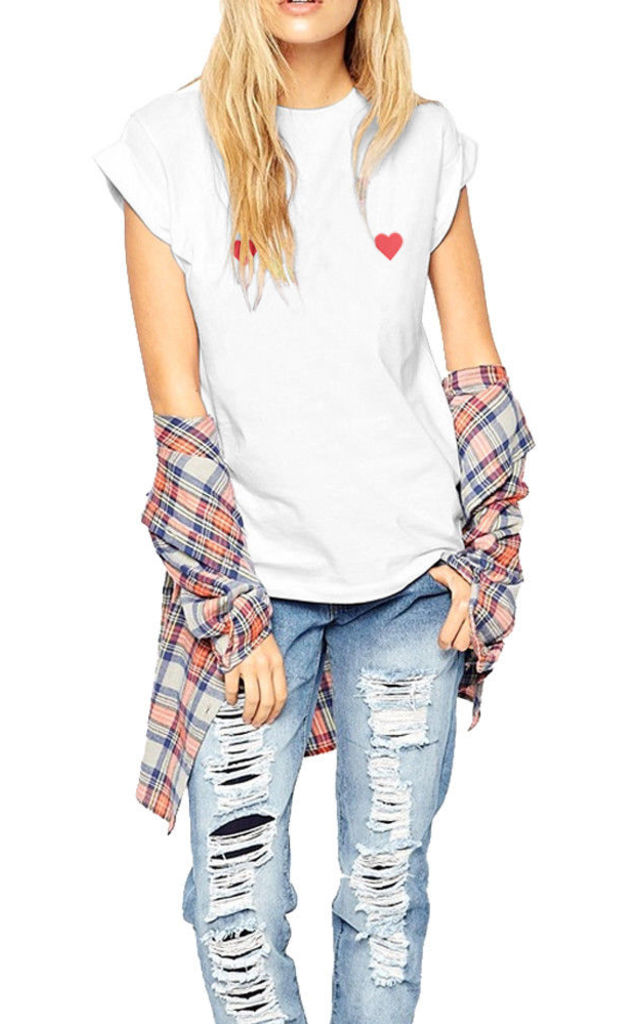 Heart Design T Shirt In White By Fashionkilla
