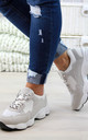 Beige Lace Up Chunky Trainers by Larena Fashion