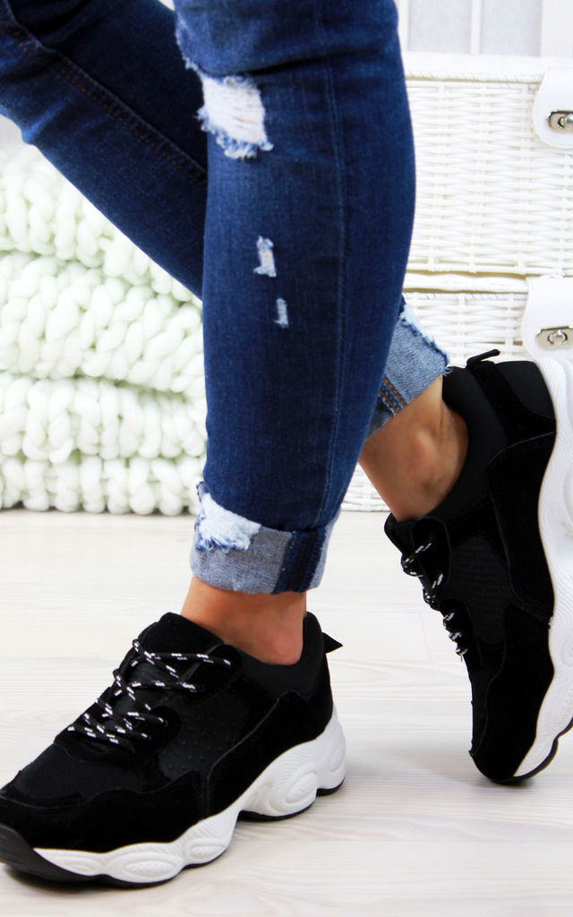 Black Lace Up Chunky Trainers by Larena Fashion
