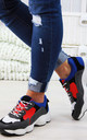 Navy Lace Up Chunky Trainers by Larena Fashion