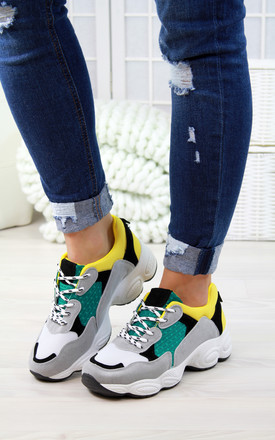 Yellow Lace Up Chunky Trainers by Larena Fashion