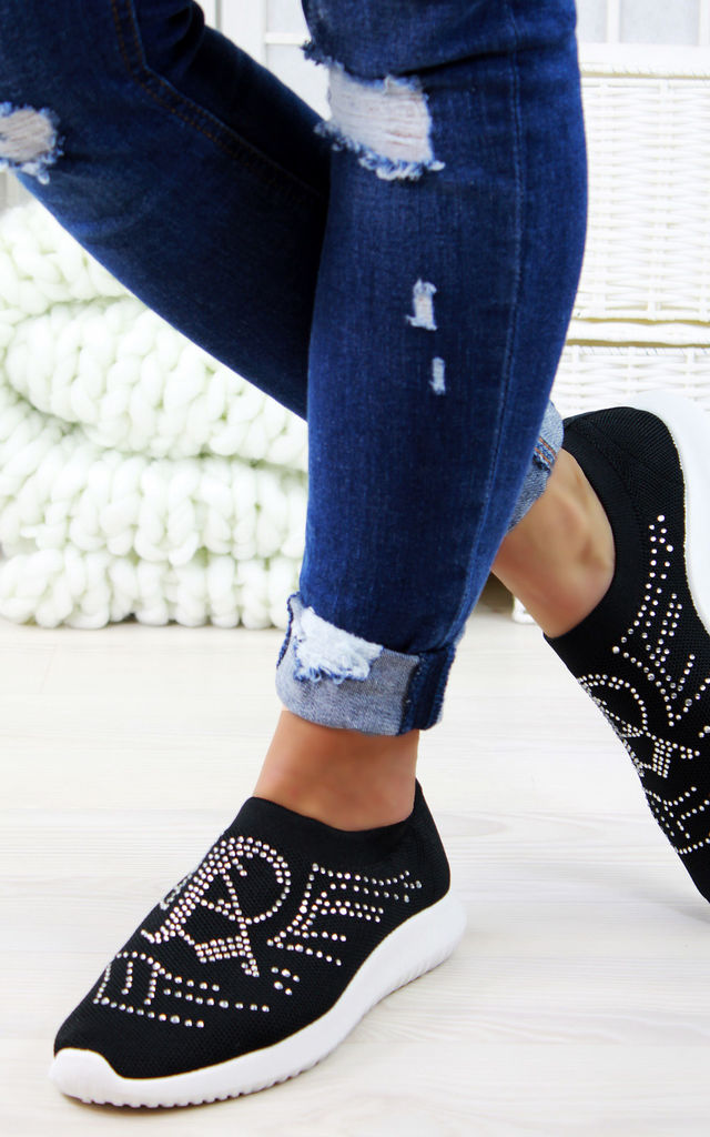 Black silver Diamnte Slip On Sock Trainers by Larena Fashion
