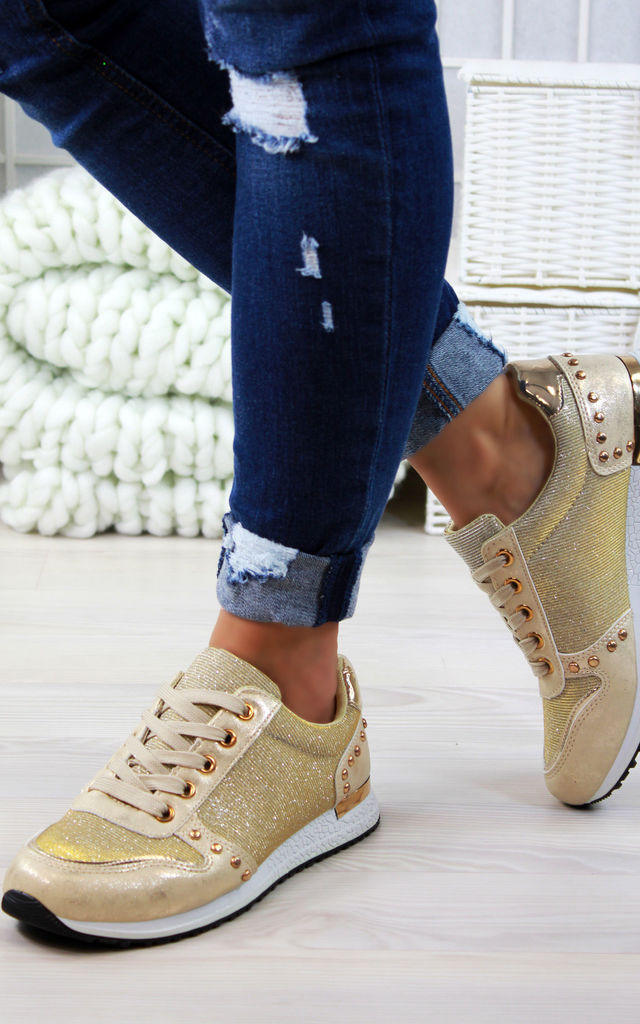 Gold Glitter Lace Up Trainers by Larena Fashion