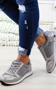 Grey Glitter Lace Up Trainers by Larena Fashion