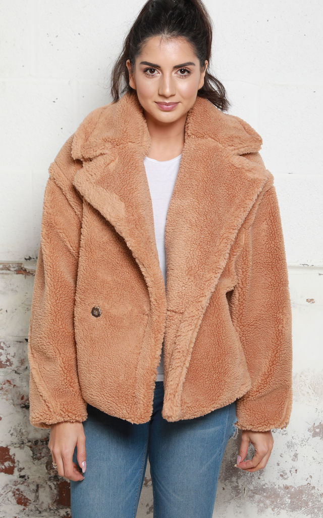 5f99c02bf4 Short Double Breasted Collared Borg Teddy Coat in Camel by One Nation  Clothing