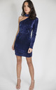 Charm Navy Off the shoulder sequin dress by House of Gigi
