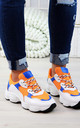 Orange Chunky Lace Up Trainers by Larena Fashion