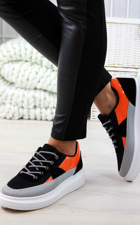 Orange Flatform Trainers by Larena Fashion