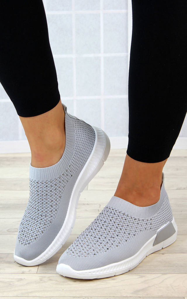 Grey Slip on Sock Trainers by Larena Fashion